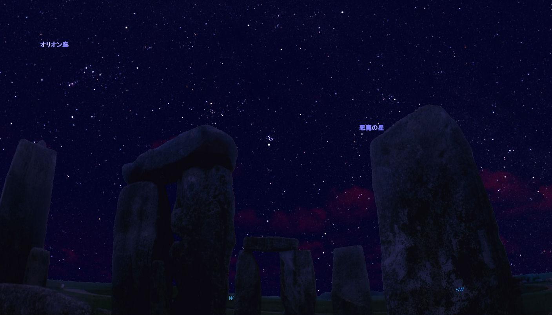 双眼鏡で見る冬の星空・アルゴル(悪魔と呼ばれた星) ペルセウス座