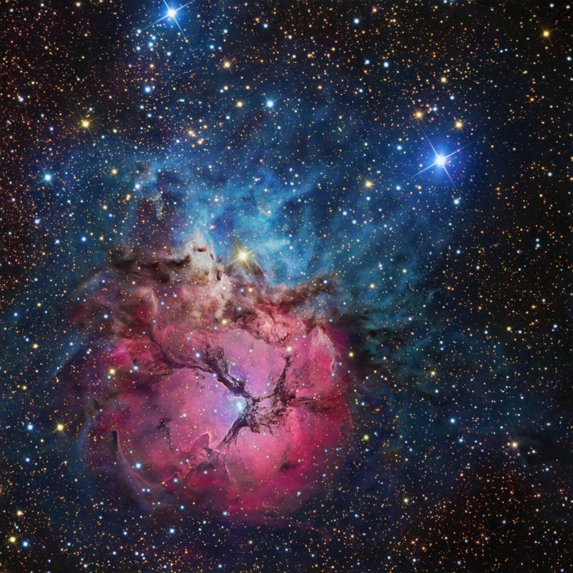 双眼鏡で見る夏の星空・ M8(干...
