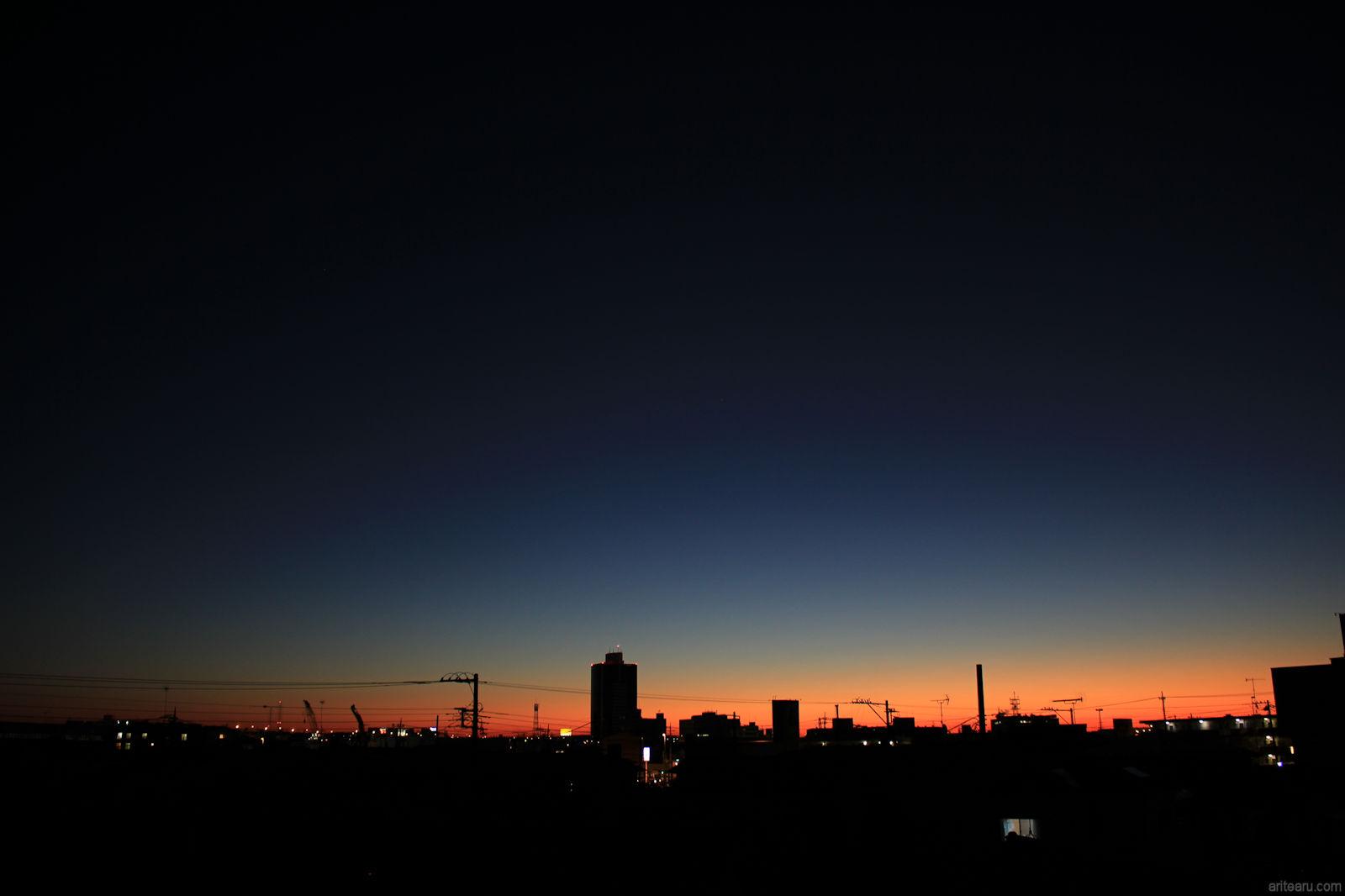 大地と空の息吹き 2018年1月27日 夜明けの光景(神奈川県厚木市)